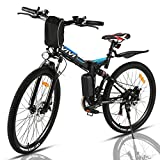 VIVI Folding Electric Bike 350W, Adult Electric Bikes, 26' Mountain Bike with 8Ah Battery, 20 Mph Speed/Recharge Mileage 25 Mile/ 4 Working Mode (Blue)