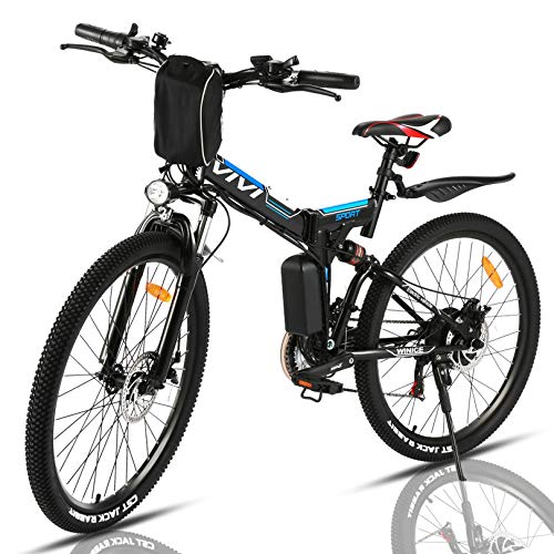 """VIVI Folding Electric Bike 350W, Adult Electric Bikes, 26"""" Mountain Bike with 8Ah Battery, 20 Mph Speed/Recharge Mileage 25 Mile/ 4 Working Mode (Blue)"""
