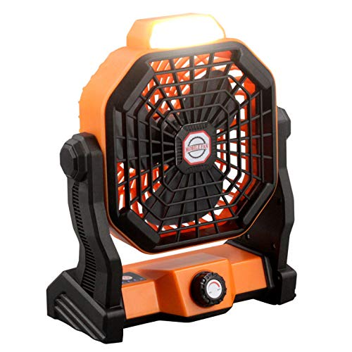 USB Powered Desk Fan 7800mAh Rechargeable Battery Operated Table Fan Portable Personal Cooling Fan with Light 270° Rotatable 8 Speeds Enhanced Airflow for Camping Tents Home Outdoor Car (Orange)