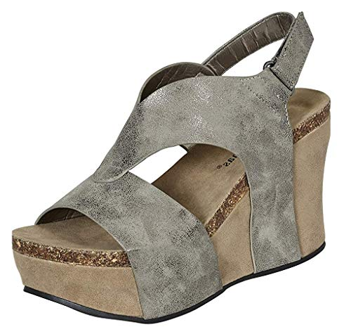 Pierre Dumas Women's Hester-6 Wedge Sandal,Pewter Steel,10