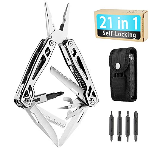 WETOLS Multitool, 21-in-1 Hard Stainless Steel Multitool, Foldable & Self-Locking, Multi-pliers Used as Knife, Bottle Opener, Screwdriver, Sickle etc, Gifts for Men WE-182