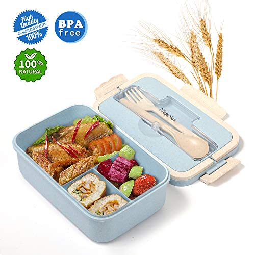 Bento Lunch Box For Kids & Adults With 3 Compartment, Leakproof Lunch Containers With Spoon & Fork Microwave Dishwasher Safe, BPA Free Meal Box With Handle, Wheat Fiber Blue