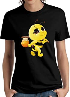 Shenigon Honey Bee Womens O-Neck Cotton Graphic T-Shirt Black
