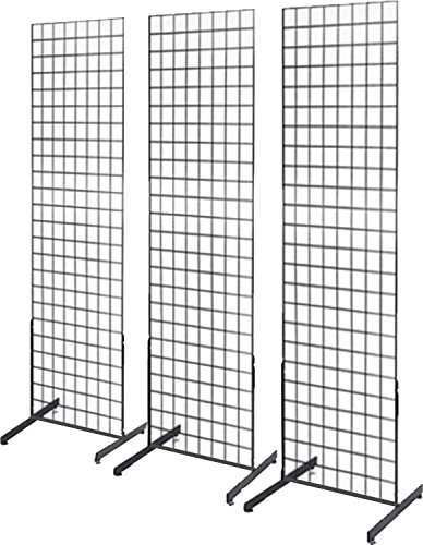 Only Hangers 1900B 3N3 Only Garment Racks 2' x 6' Gridwall Panel Tower with T-Base Floorstanding Display Kit, 3-Pack Black …