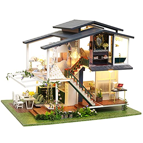 Spilay DIY Dollhouse Miniature with Wooden Furniture,Handmade Home Craft Model Mini Kit,French Romantic Garden Villa with Dust Cover & Music Box & LED,1:24 3D Doll House Toy for Adult Teenager Gift