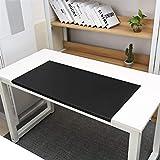 SK Studio Schreibtischunterlage mit Kantenschutz Wasserdichte PU Leder, Rutschfeste mit Kantenverriegelung Mausunterlage für Computertastatur, PC und Laptop Schwarz 90x48cm