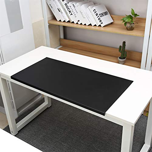 SK Studio Schreibtischunterlage mit Kantenschutz Wasserdichte PU Leder, Rutschfeste mit Kantenverriegelung Mausunterlage für Computertastatur, PC und Laptop Schwarz 70x48cm