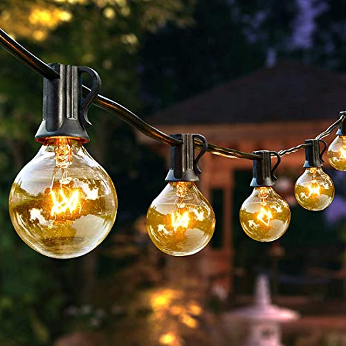 Outdoor String Lights 27FT G40 Patio Backyard Lights with 25 Clear Globe Bulbs, Warm White Indoor/Outdoor Lighting for Wedding Backyard Patio Cafe Garden Terrace Party Decoration