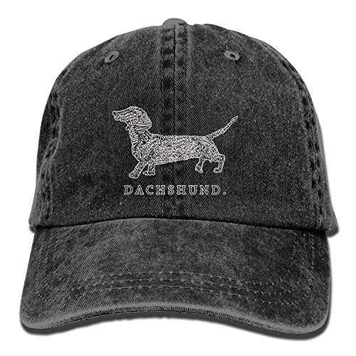 Jimmy P Sports Denim Cap Dachshund Doxen Weiner Word Art Dog Owner Gift Men Women Golf Hats Adjustable Dad Hat