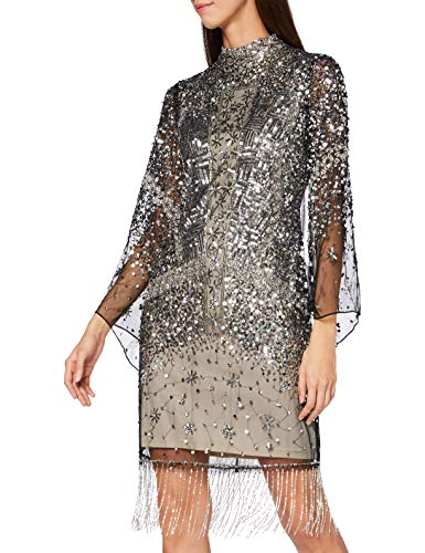 Frock and Frill Idele Embellished Dress with Flared Sleeve Vestito da Sera Formale, Nude/Silver, Medium Donna