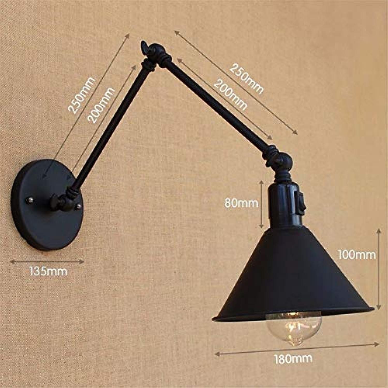 T-ZBDZ Schlafzimmer Nachttischlampe, doppelte versenkbare Klappschalter Wandleuchte matt schwarz, C20 + 20cm