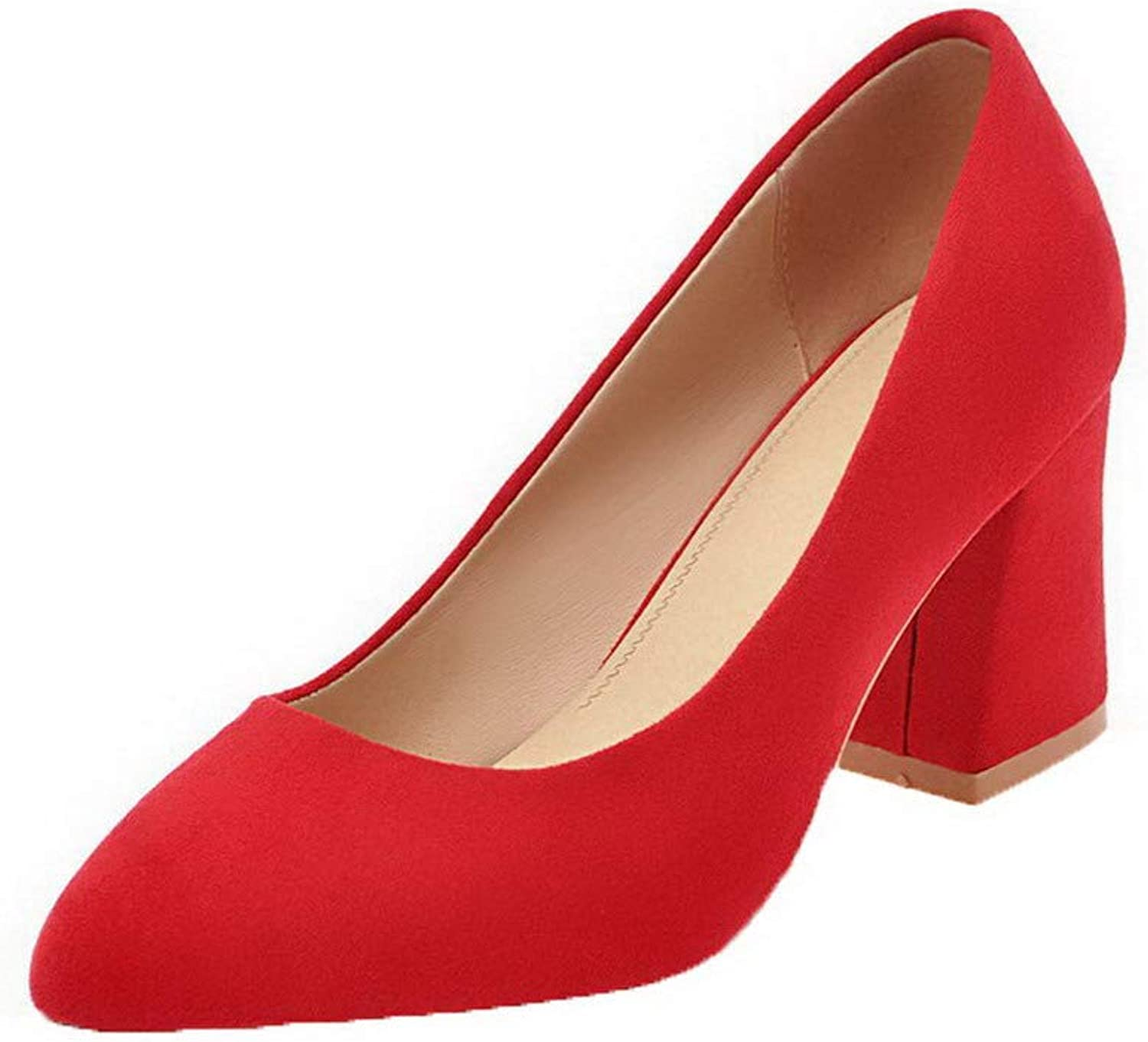 AllhqFashion Women's Blend Materials Round Closed Toe Solid Pull-On Pumps-shoes, FBUDD011119
