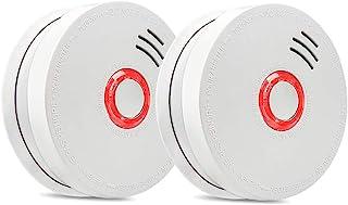 آشکارساز دود آشکارساز آتش، 2 بسته آشکارسازهای دود فوتوالکتریک با فهرست UL، آشکارساز دودکش 9V باتری (9V باتری شامل)، 10 سال عمر، ایمنی آتش برای خانه، هتل، مدرسه و غیره