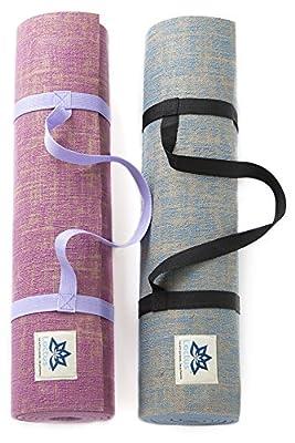 "Lottus Life Natural Jute Fiber Premium Yoga & Exercise Mat with Strap Extra Thick 8mm Mat - Eco-Friendly - Extra Long 72"" - Unique Designer Colors – Memory Foam-Like (Blue Moon)"