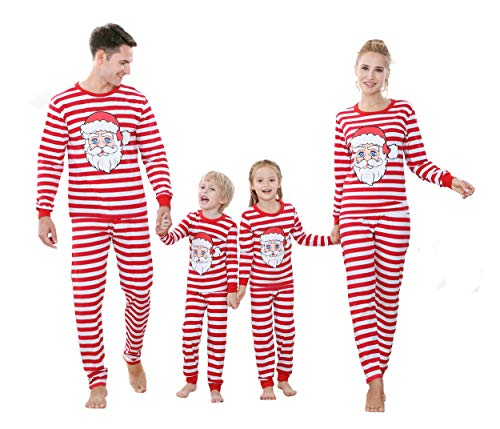 Benaive Matching Family Christmas Pajamas Set Boys Girls Holiday Xmas Pjs for Family Toddlers Kids Children Sleepwear Cotton Womens Mens Pyjamas Jammies (Red & White, Santa Claus, Kid-4T)
