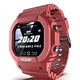 YLKCU Herren Outdoor Sportuhr Square Digital Military Armbanduhr Intelligente Bluetooth Armbanduhr mit 50M wasserdichtem Herzfrequenz-/Schlafmonitor Schrittzähler Kalorien für Schüler un