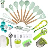 Silicone Kitchen Utensils 37 PCS Cooking Utensils Sets with Holder, Nuloofen Wooden Handle Cooking...