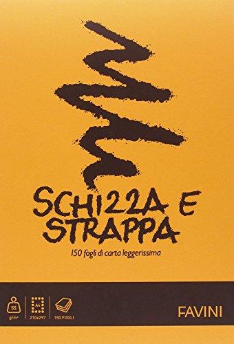 Favini A200704 Schizza e Strappa Favini, 21x29.7 cm, 50 G/Mq, 150 Fogli, colore assortiti