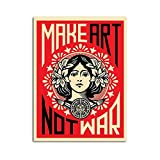 zzxywh Make Art Not War Shepard Fairey Poster Canvas Wall Painting Pictures HD Print for Room Decoration Home Decor 50x70cm No Frame