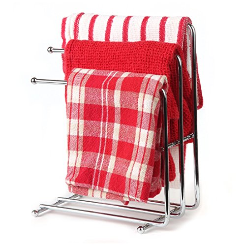 Home-X - Free Standing Towel Rack, Space Saving Kitchen Towel & Hand Towel Rack Holds 3 Towels at Once, Polished Chrome Finish & Design Looks Great in Kitchens & Bathrooms (Towels Not Included)