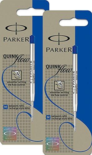 2x Parker S0909580 Ersatzmine QuinkFlow (für Kugelschreiber, mittlere Strichbreite, blaue Tinte, Einzelpackung)