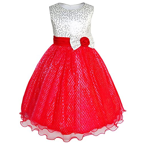 Sunny Fashion Vestido para niña Resplandecer Lentejuela Boda Dama de Honor Pageant 4-14 años