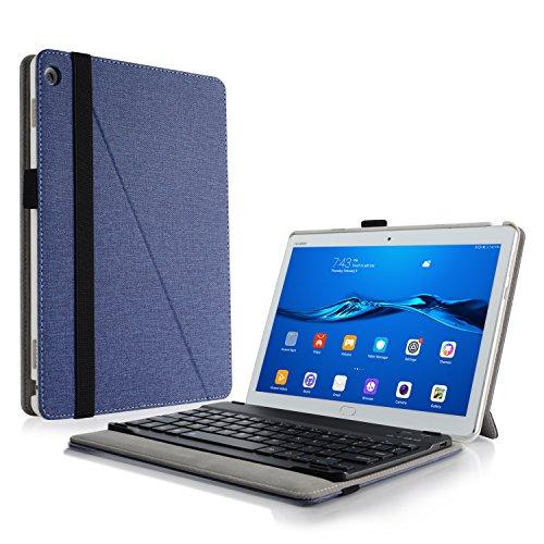 Infiland Huawei MediaPad M3 Lite 10 Tastatur Hülle, Ultradünn leicht Ständer Schutzhülle mit magnetisch abnehmbar Tastatur für Huawei MediaPad M3 Lite 10(QWERTZ Tastatur,Dunkleblau)