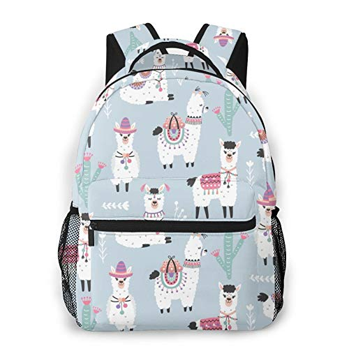 Cartoon Llama Alpaca Unisex Polyester Canvas Casual Fashion Large Capacity Multi Function Backpack