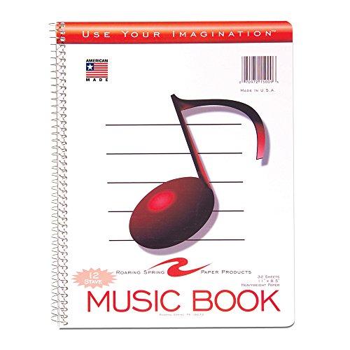 Roaring Spring Papier Produkte Musik Notebook, 27,9x 21,6cm, 12Notenlinien (15009)