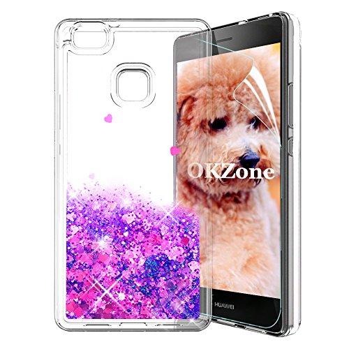 OKZone Cover Huawei P9 Lite Custodia Brillantini [con Pellicola Proteggi Schermo], 3D Glitter Liquido TPU Protezione Cover Protettiva Case Protettiva Custodia per Huawei P9 Lite (Cuore Viola)
