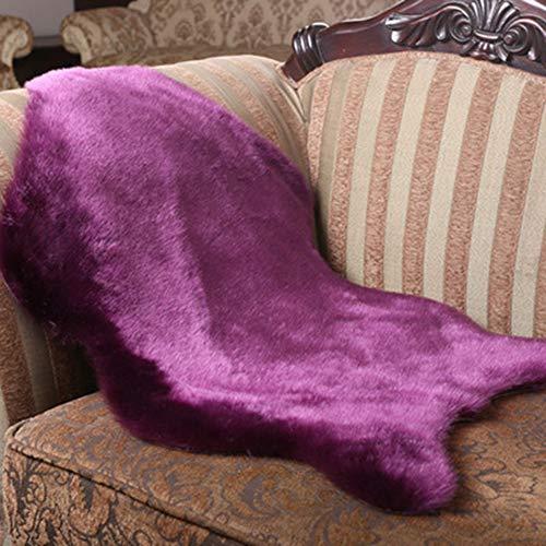 Schaffell-Teppich, weiches Schaffellimitat, Kunstfellimitat, Kunstfell-Teppich, Stuhl-Couch-Abdeckung, Vorleger für Schlafzimmer, Boden, Sofa, Wohnzimmer, Lila