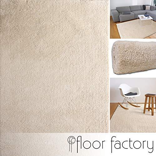 floor factory Weicher Hochflor Shaggy Teppich Privilege beige 140x200 cm - Flauschiger Mikrofaser Langflorteppich