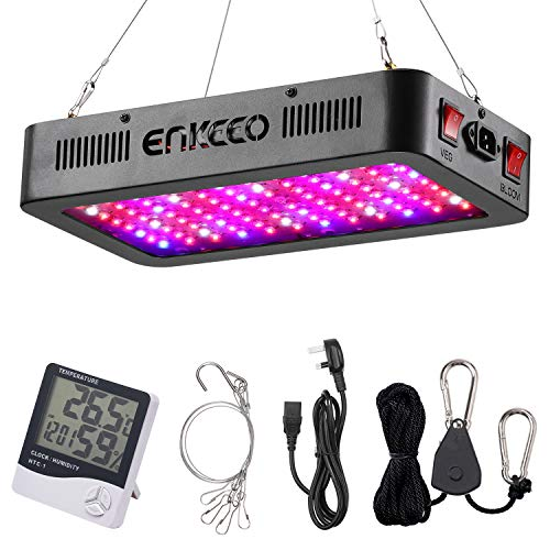 ENKEEO 1000W Plant LED Grow Light Full Spectrum Grow Lamp with Double Switch Thermometer Humidity Monitor Heat Dissipation System Daisy Chain Function for Indoor Greenhouse Garden Seedling Veg Flower