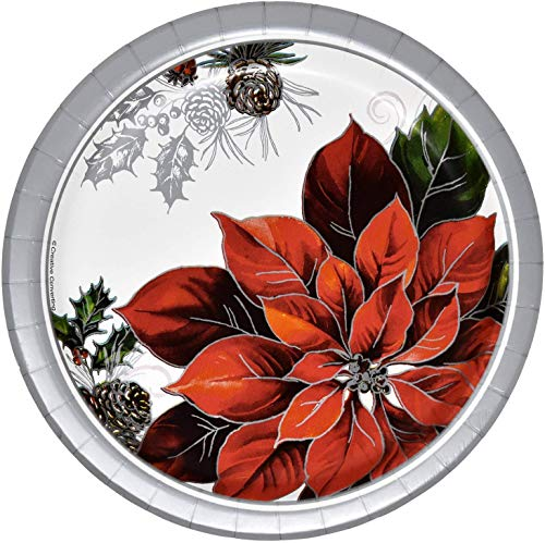 50 Christmas Dessert Paper Plates 7' In Elegant Poinsettia Design Disposable Holiday Plate in Red Green White and Silver for Xmas Dinnerware Tableware Party Supplies Made In USA by Gift Boutique