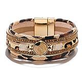 ARVATO Leopard Bracelets for Women Teen Girls Multilayer Wide Animal Cheetah Print Leather Wrap Bracelet Jewelry Gift Ideas