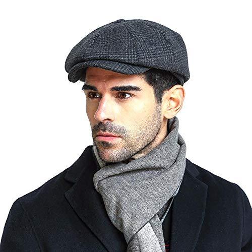 Men's Newsboy Cap Gatsby Hat Wool Blend French Cabbie Hat Beret Hat Fedora Grey