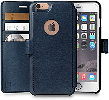 LUPA iPhone 6S Plus Wallet case, iPhone 6 Plus Wallet Case, Durable and Slim, Lightweight with Classic Design & Ultra-Strong Magnetic Closure, Faux Leather, Navy Blue, for Apple iPhone 6s Plus/6 Plus