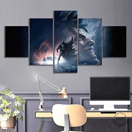baixiangguo Moderno 5 Piezas Pintura En Lienzo HD Impresión En Lienzo Arte De La Pared Imágenes Póster Sala De Estar Decoración del Hogar(con Marco)-60' W X 32' H,Póster Batman La Broma Asesina