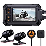 Blueskysea A12 Motorcycle Dash Cam Camera,1080p 30fps Dual Wide Angle 150° Lens Sportbike Recording DVR with 3'' Full Fit Screen Waterproof 32GB Card Loop Recording GPS Mode