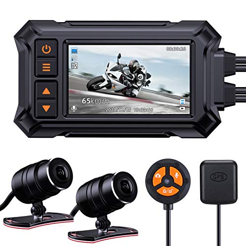 Blueskysea A12 Motorcycle Dash Cam Camera,1080p 30fps Dual Wide Angle 150° Lens Sportbike Recording...