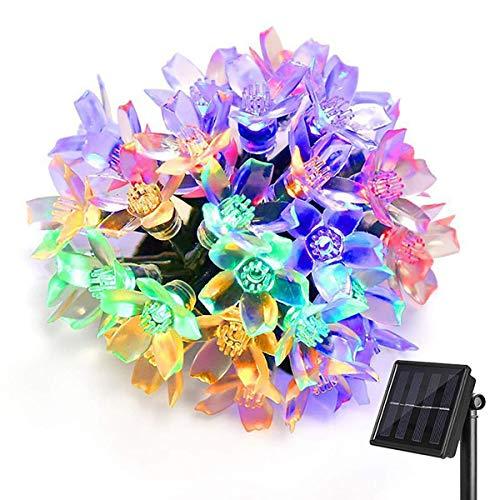 Solar Lichterkette Außen, KEEDA Wasserdicht Blumen LED Außenlichterkette, 22.97ft 50 LED Beleuchtung für Garten, Balkon,Pavillon,Terrasse,Rasen,Zaun,Hochzeit Deko(Multi)