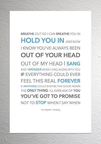 Foo Fighters – Everlong – Funky Lyric Kunstdruck – A4 Größe