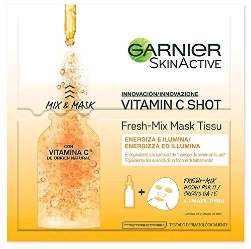 Garnier Skinactive Maschera in Tessuto Fresh Mix Arricchita con Vitamina C, Pelle Illuminata ed Energizzata