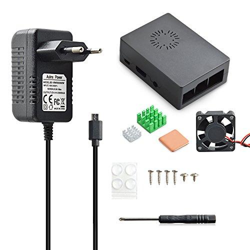 Aukru Caja Negro Nuevo Modelo (Puede Instalar Ventilador)+ Micro USB 5V 3000mA Cargador con Interruptor + los disipadores de calores + los Tornillos y Destornillador para Raspberry Pi 3 Modelo B, B+