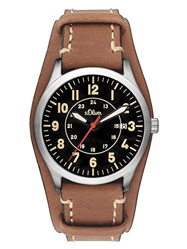 s.Oliver Herren-Armbanduhr Analog Quarz Leder SO-3147-LQ