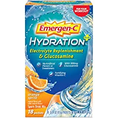 Includes 18 packets (0.34-ounce each) of Emergen-C Hydration+ in Orange Spritz flavor with Glucosamine Emergen-C Hydration+ is made with key electrolytes to replenish you and Vitamin C to fortify you Hydration powder formula features as much potassiu...