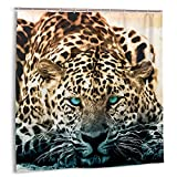 Zhhlaixing Leopard Shower Curtain Oil Painting Style 72 X 72 Inches, The Snow Leopard is Watching You,Bathroom Accessories Decor Waterproof Shower-Curtains