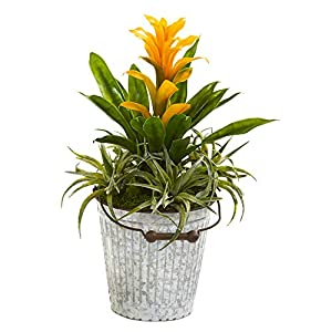 """Nearly Natural 18"""" Bromeliad and Succulent Artificial Metal Bucket Silk Plants Yellow"""