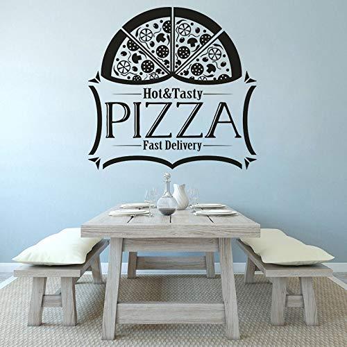 Calcomanía de pared para pizzería con logotipo de la tienda de pizzería, entrega rápida con logotipo de pizza, póster de arte de pared, A19, 57 x 55 cm