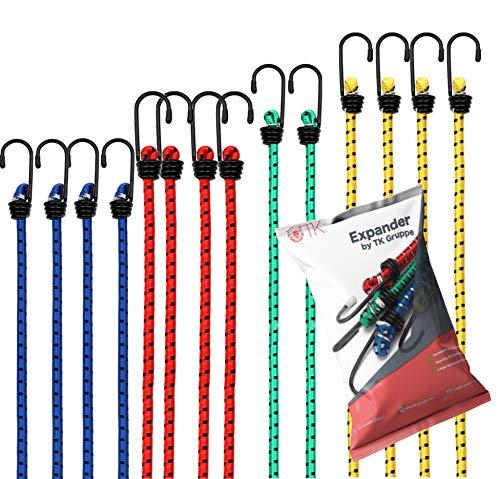 TK Gruppe Timo Klingler 12x Expander Set Gepäckspanner zur Befestigung mit Spanngurte Spanngummi bei Transport, Camping, Ladungssicherung Gummiexpander mit Haken